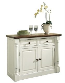 Home Styles Monarch Buffet, Oak and White Constructed of Hardwood Solids, Two Adjustable Shelves ...