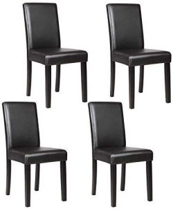 Mecor Upholstered Dining Chairs Set of 4, Kitchen PU Leather Padded Chair w/Solid Wood Frame Din ...