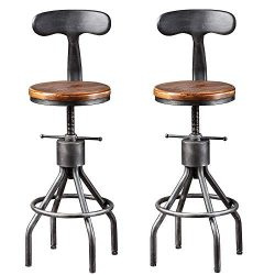 BOKKOLIK Set of 2 Vintage Bar Stool- Industrial Swivel Kitchen Dining Chair-Counter Height 23-33 ...