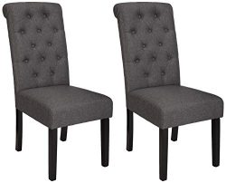 AmazonBasics Classic Fabric Tufted Dining Chair with Wooden Legs – Set of 2, Charcoal