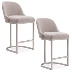 Leick Furniture Barrel Back Counter Stool (Set of 2), Pewter/Oatmeal Linen