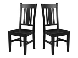 Ravenna Home Classic-Style Solid Pine Dining Chair, 40″H, Black Finish, Set of 2