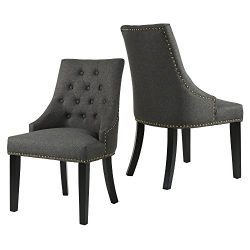 LSSBOUGHT Set of 2 Fabric Dining Chairs Leisure Padded Chairs with Black Solid Wooden Legs,Naile ...