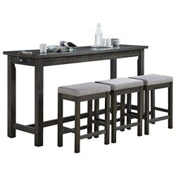 Homelegance 4-Piece Counter Height Dinette Set, Gray