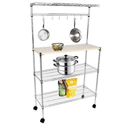 BAIJIAWEI 4 Tiers Kitchen Bakers Rack with Wheels Microwave Stand Shelf Storage Rolling Cart wit ...