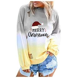 TWGONE Tshirts with Sayings for Women Christian Long Sleeve Christmas Printed Letter Crew Neck S ...