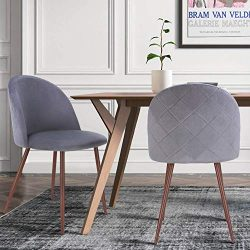HOMECHO Dining Chairs Set of 2, Velvet Upholstered Side Chair, Modern Accent Leisure Chairs with ...