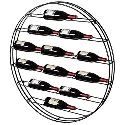 MyGift 12 Bottle Modern Black Metal Round Wall Mounted Wine Display Rack