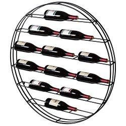 MyGift 12 Bottle Modern Black Metal Round Wall Mounted Wine Display Rack