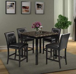 5 Piece Counter Height Dining Set Kitchen Table Furniture Set with 4 Chairs Dining Room Table an ...