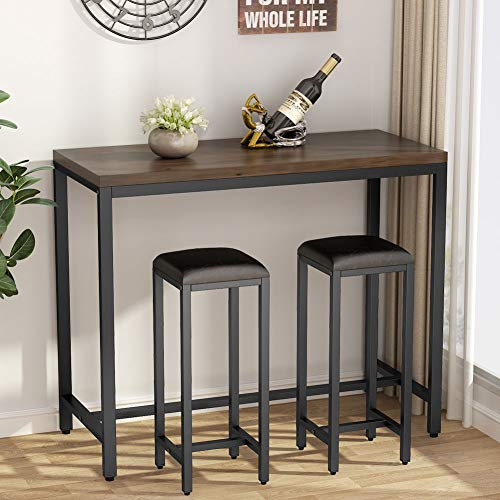 Tribesigns 3-Piece Solid Wood Pub Table Set, 39.4 inch Counter Height Kitchen Bar Dining Table w ...