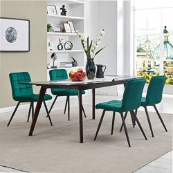 Upholstered Velvet Dining Chairs,Tufted Accent Living Room Chairs with Metal Legs for Living Roo ...