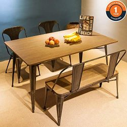 Harper & Bright Designs 4-Piece Dining Table Set Kitchen Table with Bench and Chairs,59̶ ...