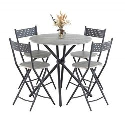Mecor 5 Pcs Dining Table Set w/ 4 Folding Chairs, Mid-Century Vintage Round Coffee Table and Fol ...