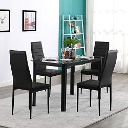 Rectangle Tempered Glass Dining Table with Nine Block Box Pattern Black and 4pcs Elegant Assembl ...