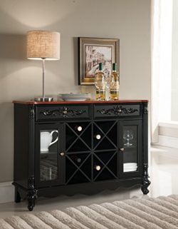 Kings Brand Buffet Server Wine Cabinet Console Table, Black / Walnut