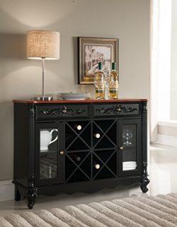 Kings Brand Buffet Server Wine Cabinet Console Table, Black / Walnut
