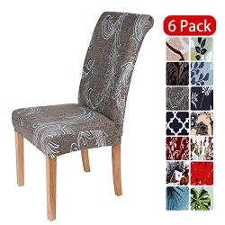 smiry Stretch Printed Dining Chair Covers, Spandex Removable Washable Dining Chair Protector Sli ...