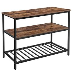 VASAGLE ALINRU Kitchen Island with 3 Shelves, Kitchen Shelf with Large Worktop, Stable Iron Stru ...