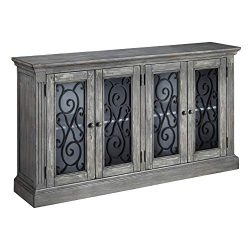 Signature Design by Ashley – Mirimyn 4-Door Accent Cabinet – Casual – Antique Gray