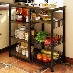4HOMART Kitchen Baker's Rack, Microwave Shelf Floor Multi-Layer Rack Multi-Function Kitche ...