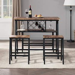 O&K FURNITURE 4-Piece Counter Height Dining Room Table Set, Bar Table with One Bench and 2 S ...