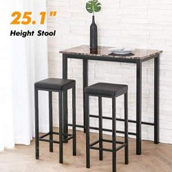 Homuy 3-Piece Pub Table Set Counter Height Dining Set Bar Table Set Breakfast Nook Dining Table  ...