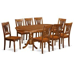 PLAI9-SBR-W 9 PC Dining room set for 8-Dining Table and 8 Dining Chairs