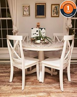5 Piece Round Dining Set,Elegant Desk and 4 Chairs, Perfect for Kitchen, Breakfast Nook, Bar, L ...