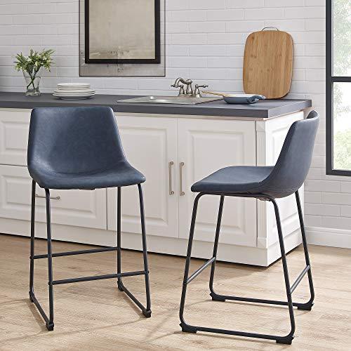 WE Furniture AZHL26BU Modern Faux Leather Upholstered Counter Stool, Set of 2, Navy Blue