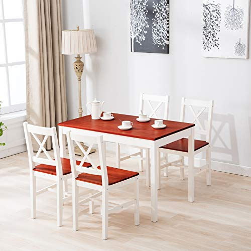 mecor 5 Piece Kitchen Dining Table Set, 4 Wood Chairs Dinette Table Kitchen Room Furniture (Red)