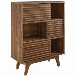 Modway  Render Three-Tier Display Storage Cabinet Stand, Walnut