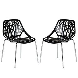 Poly and Bark Birds Nest Dining Side Chair (Set of 2), Black