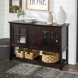 Walker Edison Furniture Company Rustic Farmhouse Wood Buffet Storage Cabinet Living Room, 52 Inc ...