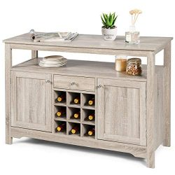 Giantex Buffet Server Sideboard, Console Table, Wood Dining Table, Cupboard Table with 2 Cabinet ...