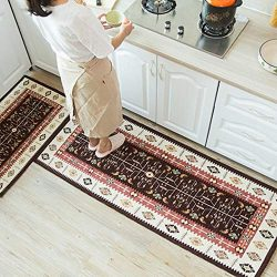 Kitchen Rugs,Kitchen Rugs and Mats Set 2 Pieces Non Slip Machine Washable Rugs for Kitchen Rugs  ...