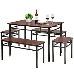 AMERLIFE 5 Piece Dining Table Set Retro Chairs Table Set Counter Height with 2 Stools & 2 Be ...