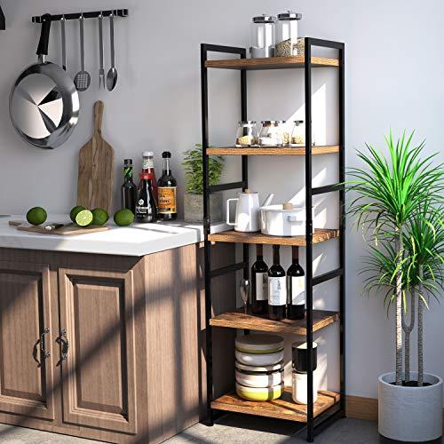 Homfa 5-Tier Corner Shelf, Free Standing Ladder Shaped Plant Flower Stand Rack Bathroom Storage  ...