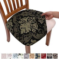 Comqualife Stretch Printed Dining Chair Seat Covers, Removable Washable Anti-Dust Upholstered Ch ...
