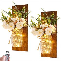 Rustic Wall Sconces Mason Jar Sconces Handmade Wall Art Hanging Design with Remote Control LED F ...