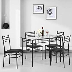 Kealive Dining Table Set with 4 Chairs Tempered Glass Top Kitchen Table Set Rectangular Table Fu ...