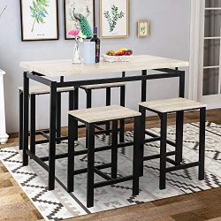 Dining Table Set, Rockjame 5 Piece Counter Height Pub Table Set with 4 Chairs for Bar, Breakfast ...