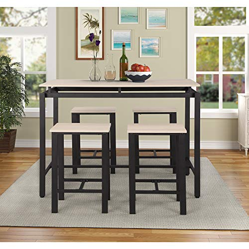 G-house 5 Piece Dining Table Set, Kitchen Table with 4 Chairs for Kitchen, Breakfast Nook, Dinin ...