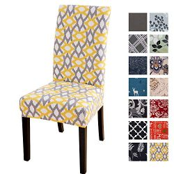 Printed Dining Chair Slipcovers, Removable Washable Soft Spandex Stretch Chair Covers Banquet Ch ...