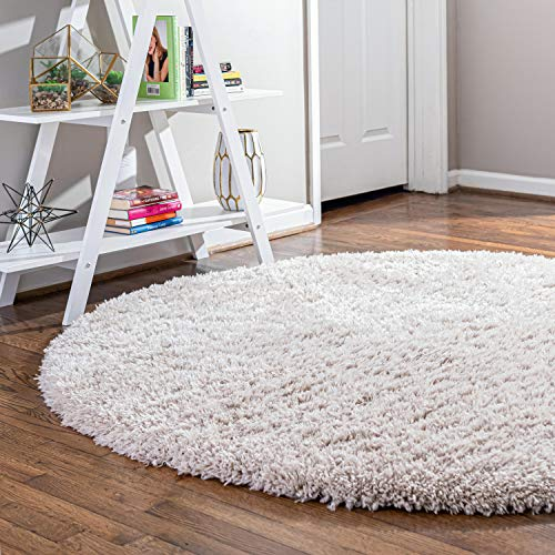 Infinity Collection Solid Shag Round Rug by Rugs.com – Linen 6′ x 6′ High-Pile ...