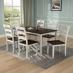 Harper & Bright Designs Wood Dining Table Set Home Kitchen Table and Chairs (White, 7 Pieces)