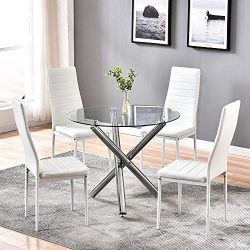 4HOMART Dining Table with Chairs Set, 5 PCS Round Glass Table Set Modern Tempered Glass Top Tabl ...