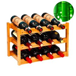 gzshengqi Wine Rack, Natural Bamboo Freestanding Wine Storage Cabinet Shelf, Countertop Wine Rac ...