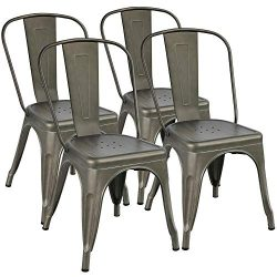 Yaheetech Metal Dining Chair Indoor/Outdoor Stackable Classic Trattoria Chair Chic Dining Bistro ...
