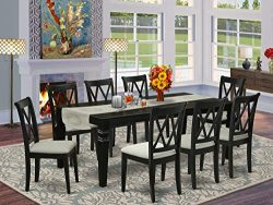 LGCL9-BLK-C 9Pc Dining Set Includes a Rectangle Dining Table with Butterfly Leaf and Eight Doubl ...